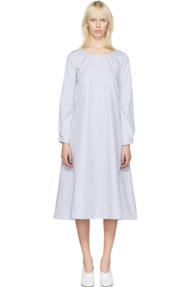 J.W.Anderson - White Striped Front Detail Dress