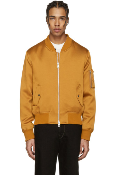 AMI Alexandre Mattiussi - Orange Satin Bomber Jacket