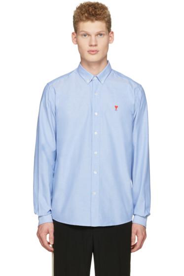 AMI Alexandre Mattiussi - Blue Ami Coeur Embroidery Shirt