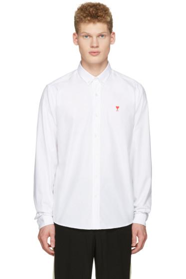 AMI Alexandre Mattiussi - White Ami Coeur Embroidery Shirt