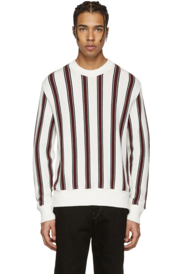AMI Alexandre Mattiussi - Off-White & Burgundy Striped Sweater