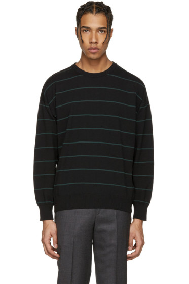 AMI Alexandre Mattiussi - Black & Green Striped Sweater