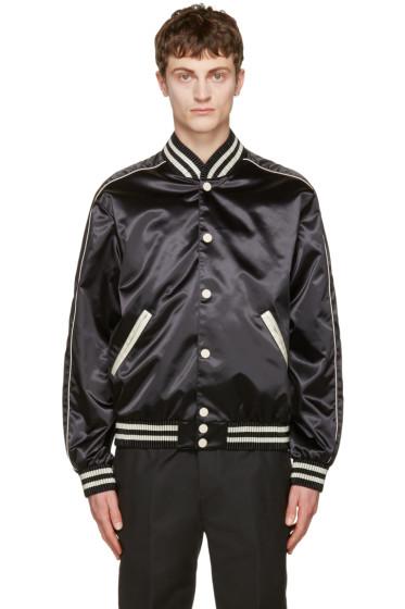 Calvin Klein Collection - Black Satin Rankin Bomber Jacket