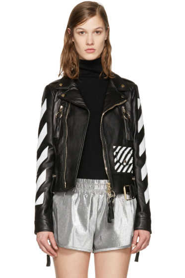 Off-White - Black Leather Diagonals Jacket