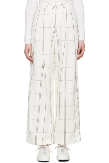 Studio Nicholson - Ivory Check Balloon Trousers