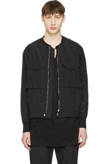 Undecorated Man - Black Nylon-Blend Bomber Jacket
