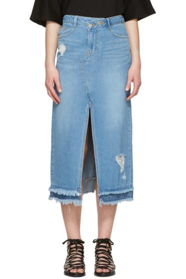 SJYP - Blue Destroyed Denim Skirt