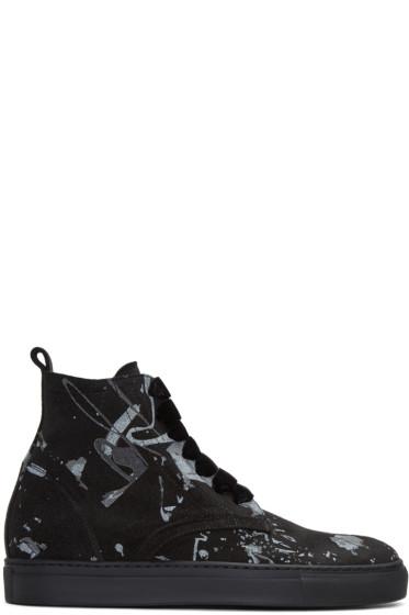 AD Ann Demeulemeester - Black Suede Splatter High-Top Sneakers