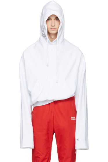 Vetements - White Champion Edition Archive Hoodie