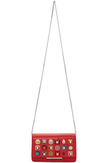 Fendi - Red Studded Tube Chain Wallet Bag