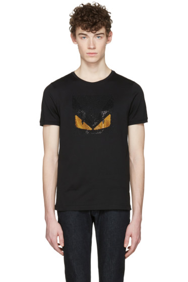 Fendi - Black Crystal 'Bag Bug' T-Shirt