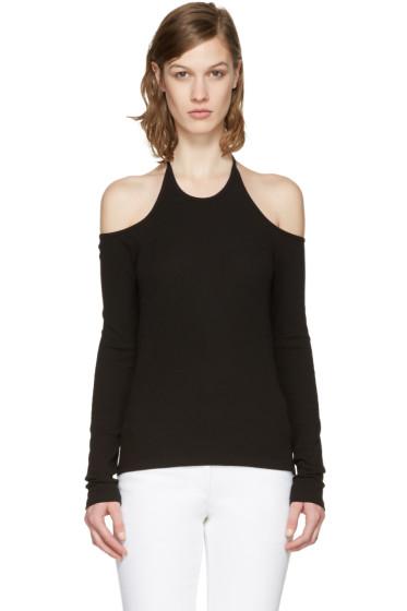 Rosetta Getty - Black Off-The-Shoulder Halter T-Shirt