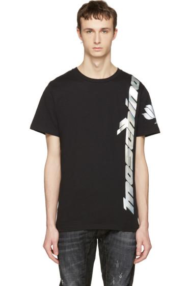 Moschino - Black Iridescent Lotus Logo T-Shirt