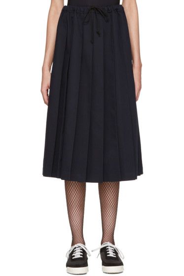 Tricot Comme des Garçons - Navy Pleated Twill Skirt