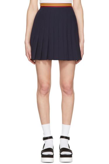 Miu Miu - Navy Pleated Wool Miniskirt