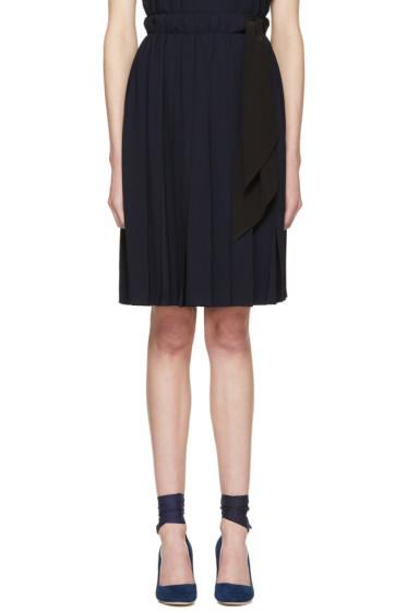 Miu Miu - Navy Pleated Bow Skirt