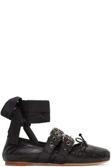 Miu Miu - Black Double Buckle Ballerina Flats