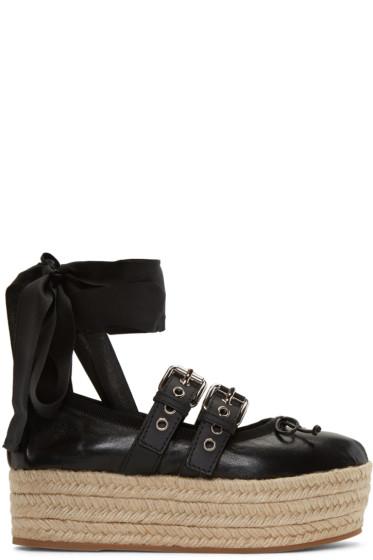 Miu Miu - Black Double Buckle Ballerina Platform Espadrilles