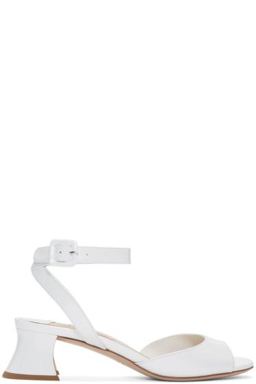 Miu Miu - White Patent Leather Heeled Sandals