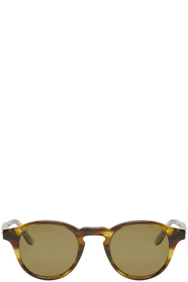 Bottega Veneta - Green Acetate Round Sunglasses