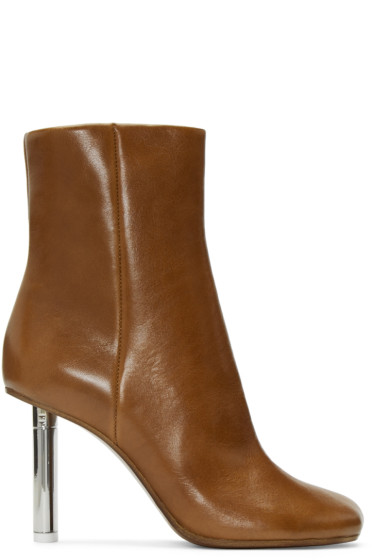 Vetements - Brown Leather Ankle Boots