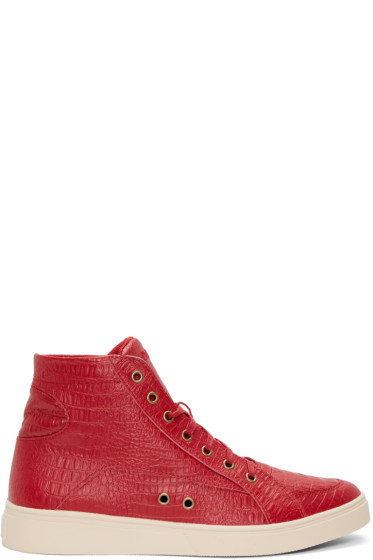 Diesel - Red Croc-Embossed S-Groove High-Top Sneakers