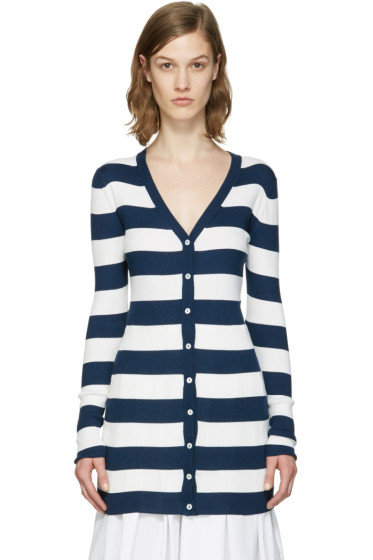 Dolce & Gabbana - Navy Striped Long Cardigan
