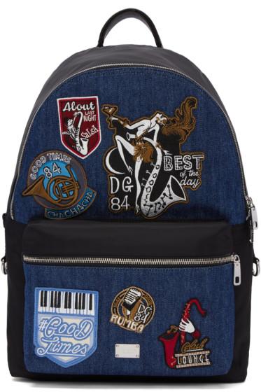 Dolce & Gabbana - Black & Blue Denim Patches Backpack