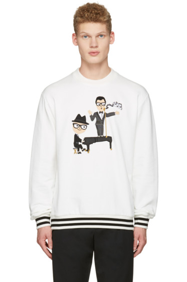 Dolce & Gabbana - White Piano Singer Duo Pullover