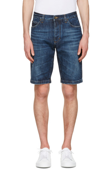 Dolce & Gabbana - Blue Denim Music Patch Shorts