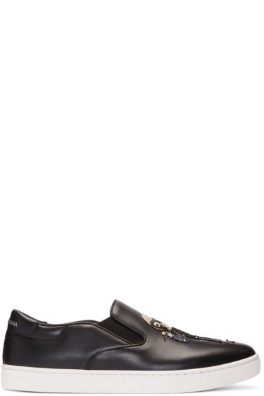 Dolce & Gabbana - Black Designers Slip-On Sneakers