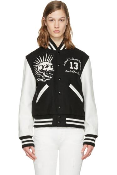 R13 - Black Vintage Varsity Bomber Jacket