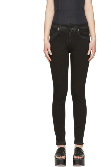 R13 - Black Coated High-Rise Jeans