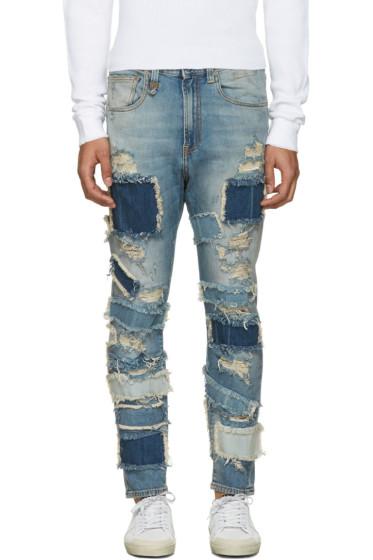 R13 - Blue Patchwork Drop Jeans