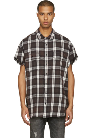 R13 - Brown Oversized Cut Off Shirt