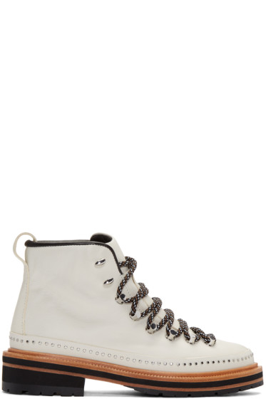 Rag & Bone - White Leather Compass Lace-Up Boots