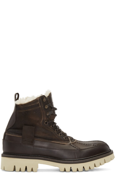 Rag & Bone - Brown Leather & Shearling Spencer Boots