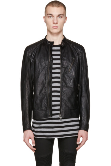Belstaff - Black Leather V Racer Jacket