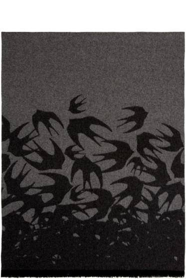 McQ Alexander Mcqueen - Grey Wool Swallows Scarf