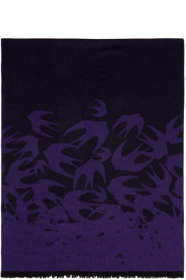 McQ Alexander Mcqueen - Purple Wool Swallows Scarf
