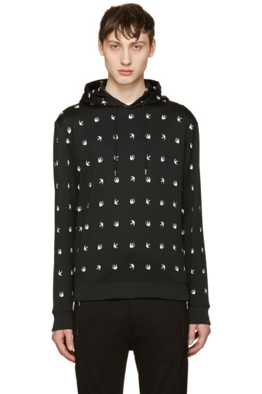 McQ Alexander Mcqueen - Black Nylon Swallows Hoodie