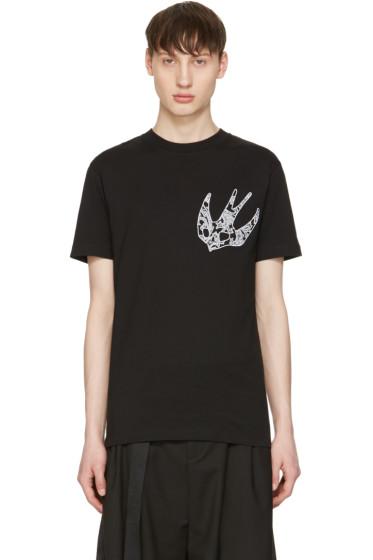 McQ Alexander Mcqueen - Black Paisley Swallow T-Shirt