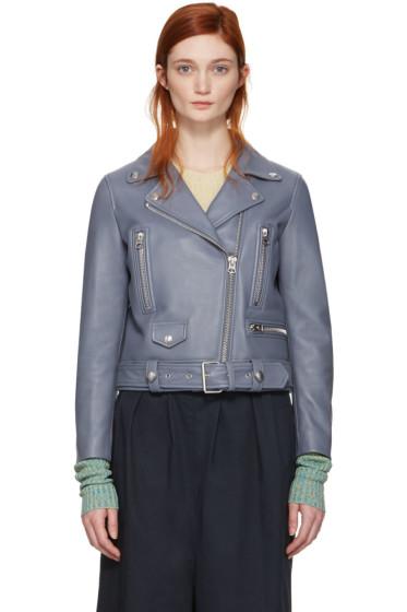 Acne Studios - Blue Leather Mock Jacket