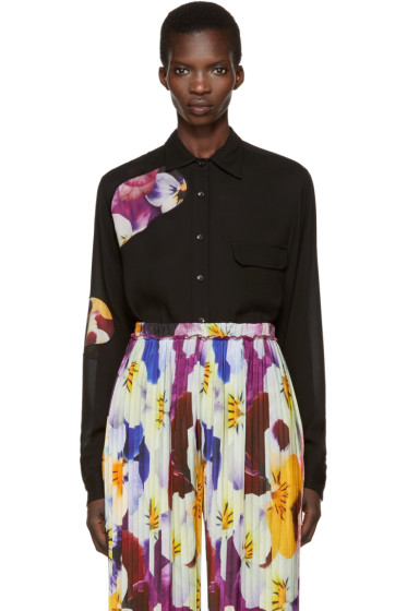 Christopher Kane - Black Floral Cut-Out Shirt