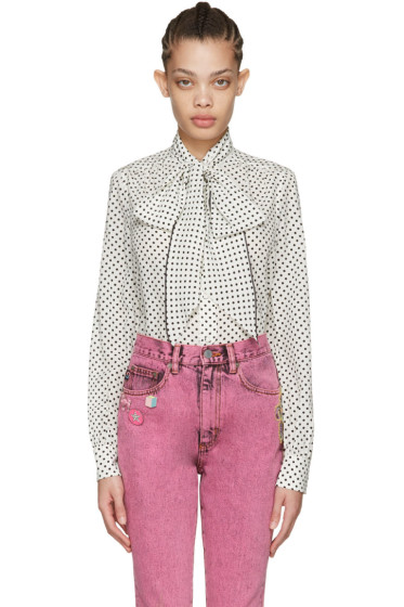 Marc Jacobs - Ivory Polka Dot Tie-Neck Shirt