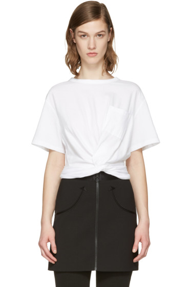 T by Alexander Wang - White Front Twist T-Shirt