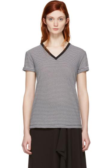 T by Alexander Wang - Black & White V-Neck T-Shirt