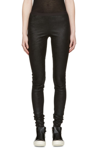 Rick Owens - Black Leather Leggings