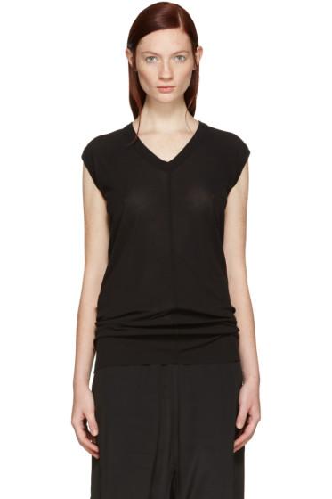 Rick Owens - Black V-Neck T-Shirt