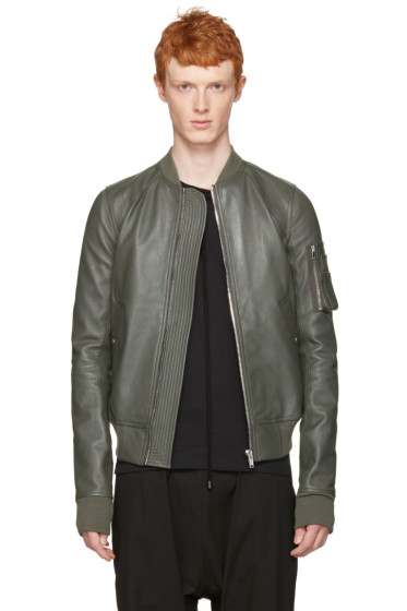 Rick Owens - Grey Leather Raglan Bomber Jacket